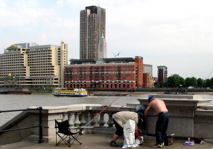 Budynki to <b>Oxo Tower</b>, <b>Kings Reach Tower</b> oraz Sea Containers. Na bliskim ...